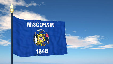 Flag of the state of Wisconsin USA Stock Video Footage