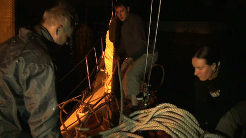The team on the yacht Stock Video Footage