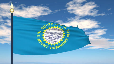 Flag of the state of South Dakota USA Animation