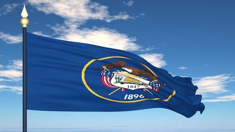 Flag of the state of Utah USA Stock Video Footage