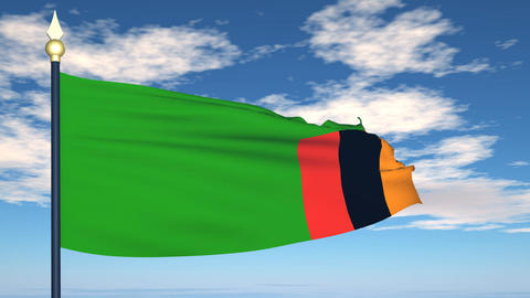 Flag Of Zambia Stock Video Footage