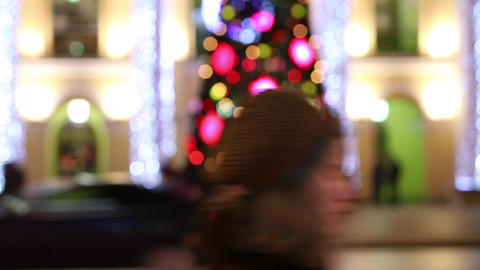 Christmas tree in the night city Stock Video Footage