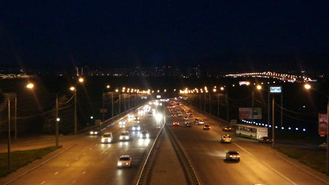 Krasnoyarsk Night Street Traffic Footage