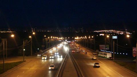 Krasnoyarsk Night Street Traffic Stock Video Footage