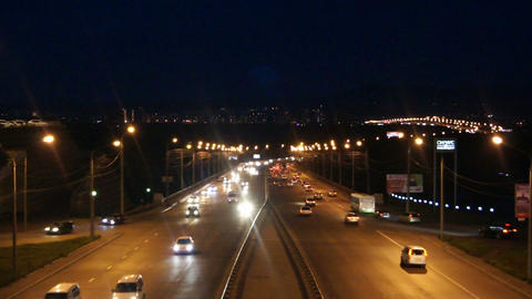 Krasnoyarsk Night Street Traffic Stock Video Footage