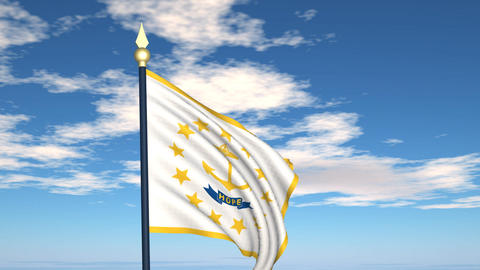 Flag of the state of Rhode Island USA Stock Video Footage