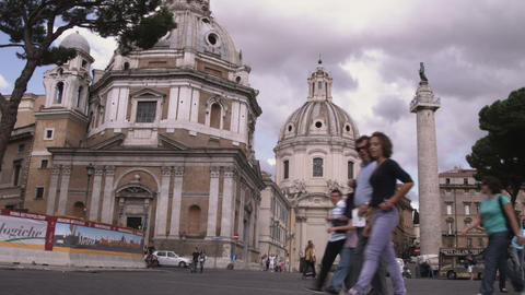 Tourists walking around Rome Italy Footage