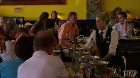 People being served at a nice restaurant bar in Salt Lake City Footage