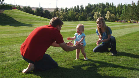 Slow motion shot of a young couple playing with their little girl Footage