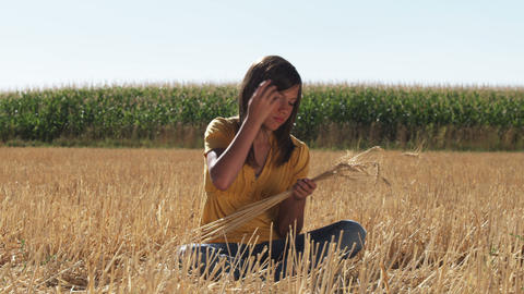 Girl sits in field and works with strands of wheat Footage