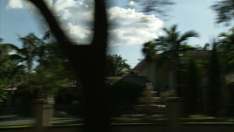 Driving through a residential area of Miami Live Action