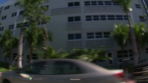 Driving through residential Miami with a wide angle lens Live Action