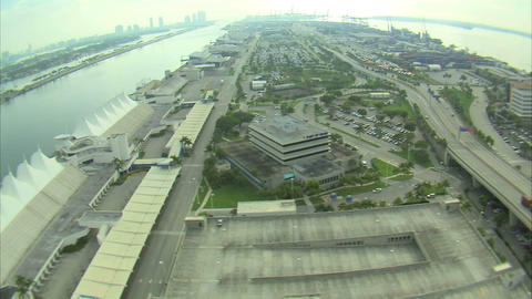 Aerial shot of a business district in Miami Footage