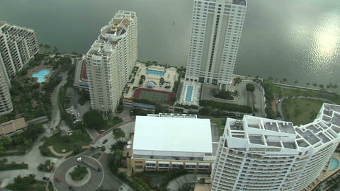 Flying over hotels in Miami Live Action