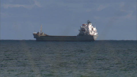 Cargo ship out at sea Live Action