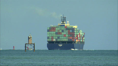 Large cargo ship off the coast of Miami Live Action