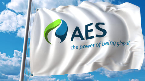 Waving flag with Aes Corporation logo. 4K editorial animation Footage