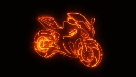 Orange Burning Race Moto Bike Logo Loopable Graphic Element GIF