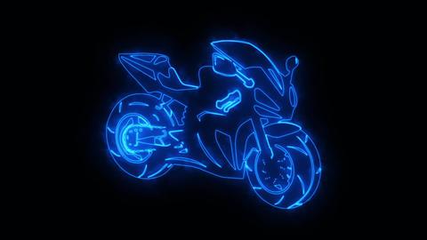 Blue Burning Race Moto Bike Logo Loopable Graphic Element Animation