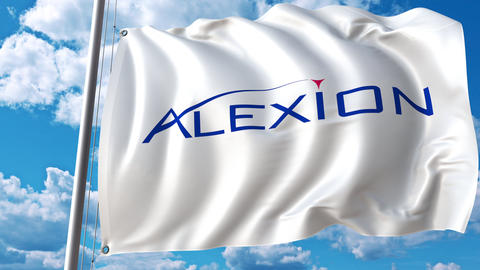 Waving flag with Alexion Pharmaceuticals logo. 4K editorial animation Live Action