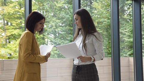 Two young successful business woman dressed in strict clothes for deal , shaking Live Action