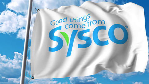 Waving flag with Sysco Corporation logo. 4K editorial animation Footage
