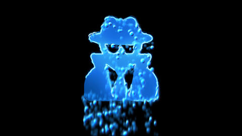 Liquid symbol user secret appears with water droplets. Then dissolves with drops Animation