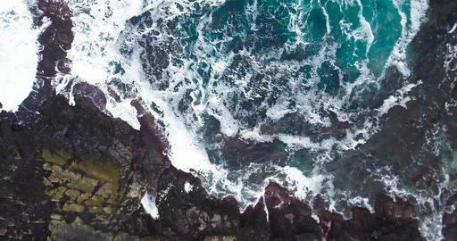 Breaking Waves on Rocky Coastline Footage