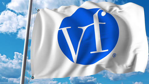 Waving flag with VF Corporation logo. 4K editorial animation Footage