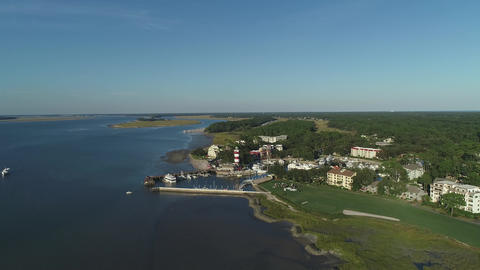 aerial view of the yacht club bay Footage