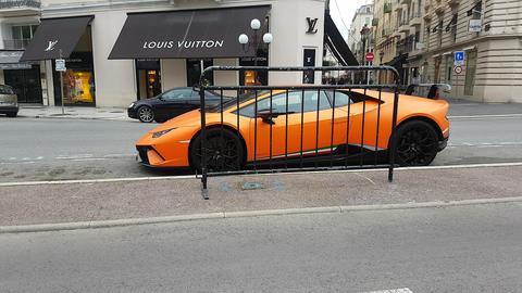 Orange Lamborghini Huracan Performante Side View Footage