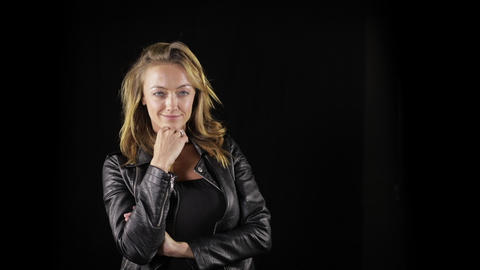 Sexy woman in a leather jacket Footage