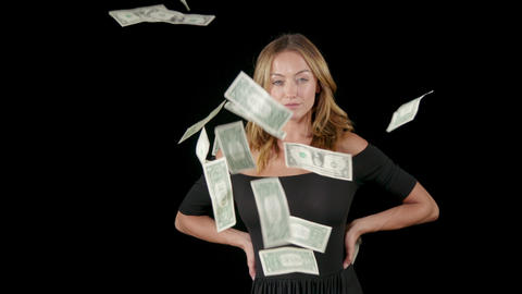 Attractive Woman With Money Falling Around Her Footage