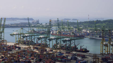 Bird eye panoramic view of busiest Asian cargo port. Commercial port of Footage