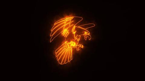 Orange Burning Eagle Logo Loopable Graphic Element Animation