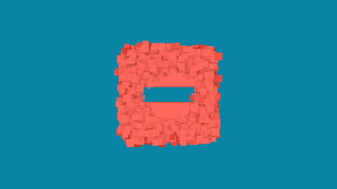 Behind the squares appears the symbol minus square. In - Out. Alpha channel Animation