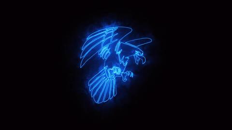 Blue Burning Eagle Logo Loopable Graphic Element Animation