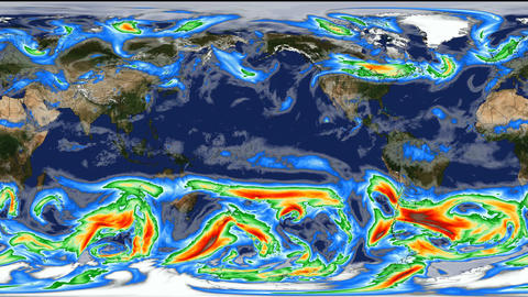 Time lapse animation simulated wind speeds in planet Earth. Global warming Animation