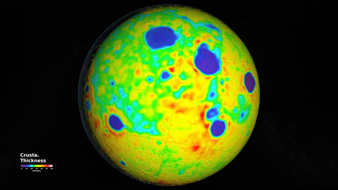 Seamless Animation of Rotating Moon globe showing crustal thickness. Elements of Animation