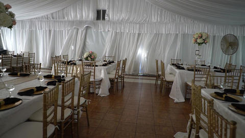 beautiful serving exquisite wedding table, decor Footage