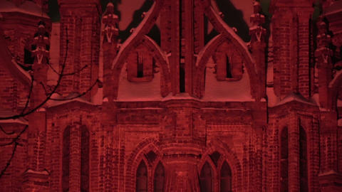 Vilnius light festival, Church of St. Anne in red light and peoples, 2019 Footage