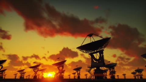 Large Array Radio Telescope. Time-lapse of a radio telescope in desert at sunset Animation