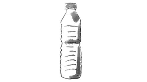 disposable plastic bottle, drawn on white chalkboard, footage ideal for GIF