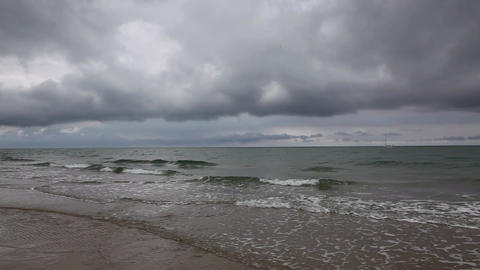 On the beach in Skagen after heavy rain, Denmark GIF