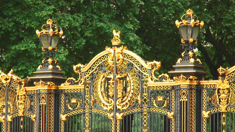 Close-up shot of gates of Buckingham Palace in England Live Action