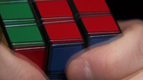 Extreme close up of a Rubik's Cube being solved Footage