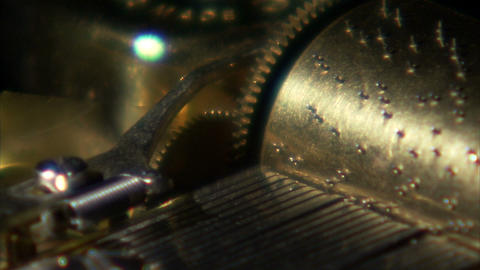 Extreme close up of music box gears turning Live Action