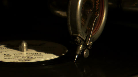Extreme close up of a record needle on a record Live Action