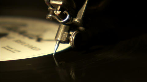 Extreme close up of a record needle coming to the end of the record Live Action