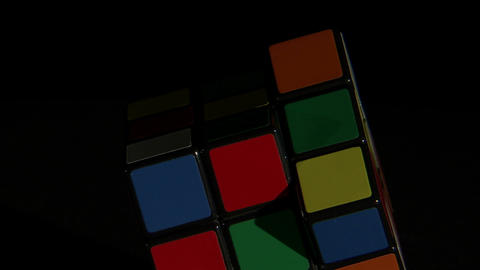 Close up of a Rubik's Cube rotating Footage